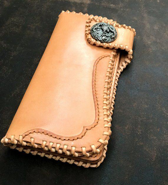 Big Natural Beige Biker Traker Leather Wallet