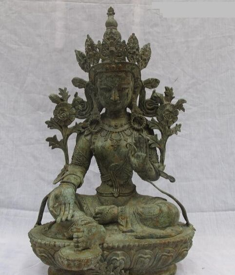 """Купить товарBi002223 23 """" тибетский буддизм народная классическая бронзовый зеленая тара гуань инь будда скульптуры в категории Металлические ремеслана AliExpress.     Материал: классическая бронза Размер: высота 22.5 дюймов.  13 дюймов.  Ширина плеч 9.5 дюймов Вес: 12.5 кг ---"""