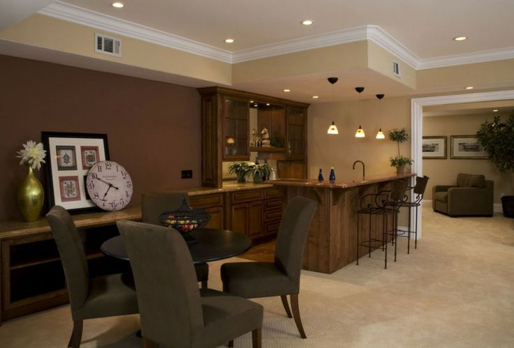 Home improvement choosing paint colors for basements brown shades paint colors for basements - Family room bar designs ...