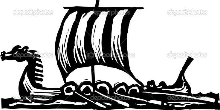 Woodcut Illustration of Viking Ship — Stock Vector © ronjoe #30558039