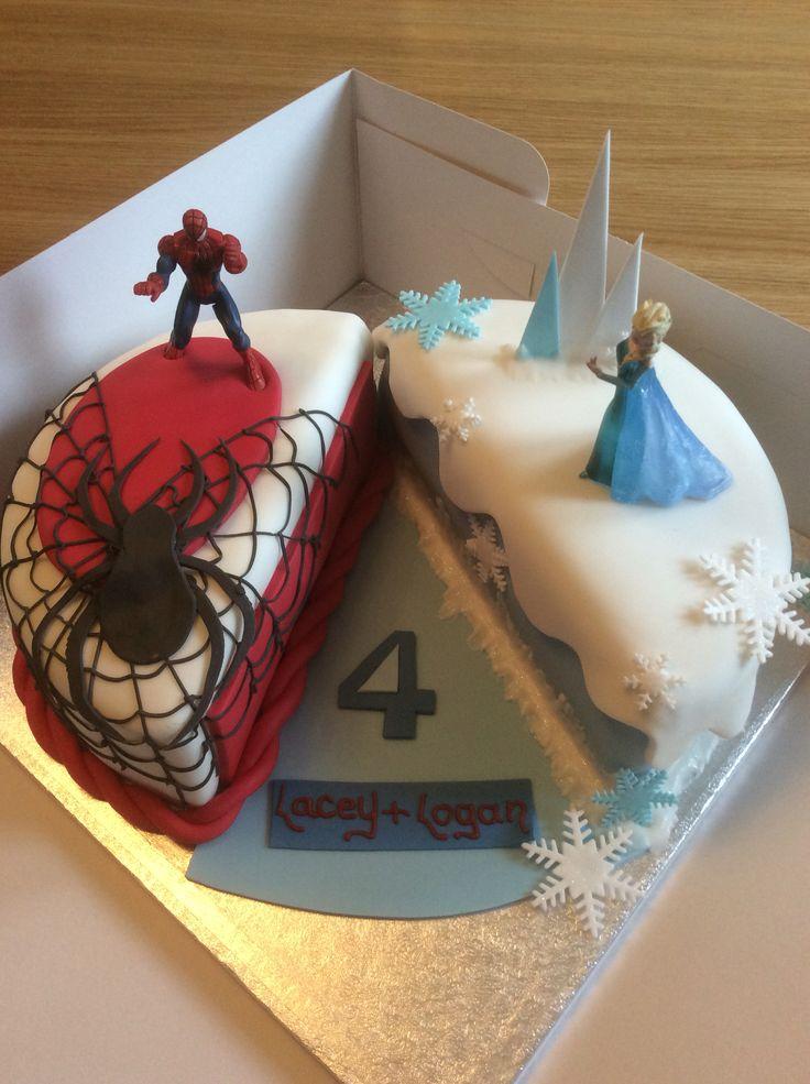 Frozen Amp Spiderman Cake Spiderman Birthday Cake Twin