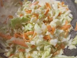 KFC Cole Slaw. Ex KFC employee said substitute tarragon vinegar for the white vinegar to make it authentic.