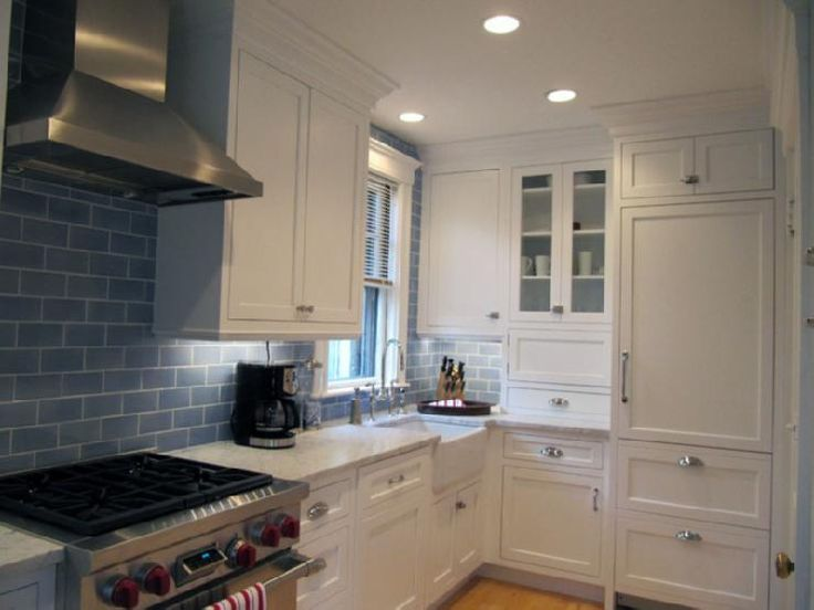kitchens - glossy blue glass tiles backsplash white shaker kitchen cabinets farmhouse sink polished nickel faucet white carrara marble countertops: White Kitchen, Decorating Ideas, Kitchen White, Blue Subway Tile, Subway Tile Backsplash, Shaker Kitchen Cabinets, Subway Tiles