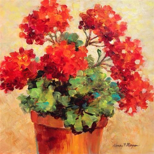 "Daily Paintworks - ""Sunny Geraniums"" - Original Fine Art for Sale - © Nancy F. Morgan"