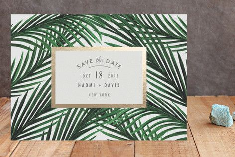 """Tropical Love"" - Destination Foil-pressed Save The Date Cards in Gold by Elly."