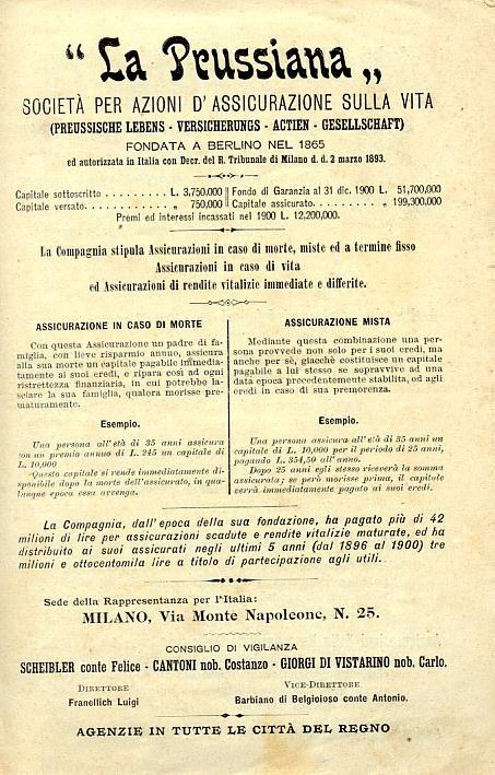 Manifesti pubblicitari dei primi del'900 - La Prussiana Società di Assicurazione sulla Vita