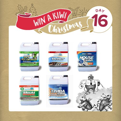 The winner of our massive draw will have the cleanest house inside and out especially with our next prize from Homesafe Products which includes: 5 litres each of DIY Pest Controller, Belter (Bleach-free, Biodegradable Sanitiser), House Wash and Timbawash for Decks. #NZMadeXmas