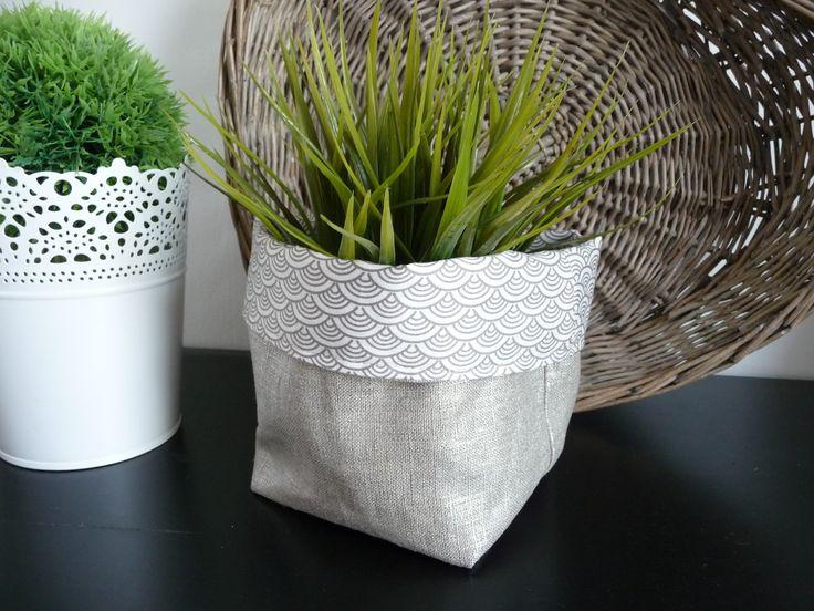 Panier de rangement tissu éventail japonais et lin argenté. : Meubles et rangements par miss-so-chic