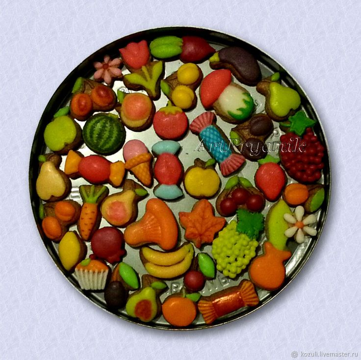 Купить Набор нано-пряников (0.5-2 см) Ягоды, фрукты и овощи, кукольная еда в интернет магазине на Ярмарке Мастеров