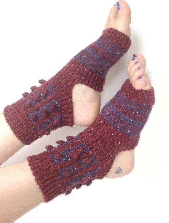 Yoga Socks, Hand Knit Red Tweed Yoga Socks, Hipster Socks, Boho socks, Pilates Socks ,PiYo Socks, Dance Socks, Pedicure Sock,Yoga, Socks by LizSox on Etsy https://www.etsy.com/listing/240379173/yoga-socks-hand-knit-red-tweed-yoga
