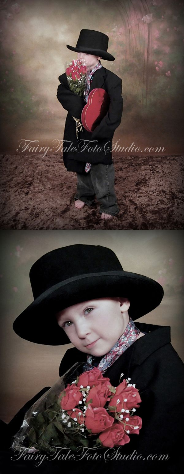 Vintage Style Boy In Top Hat And Jacket With Roses Box Of Chocolates Old Fashioned