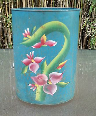 Vintage  Rusty Metal Trash Can Tropical Flowers