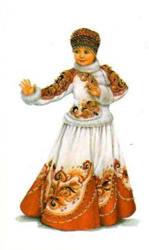 Russian traditional costume, stylization for the stage. A postcard from the set…