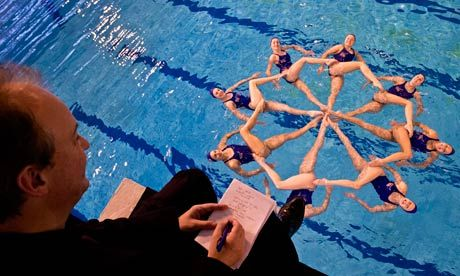 Peter Bradshaw watches GB's synchronised swimming team from the high diving board. Photograph: Sarah Lee for the Guardian