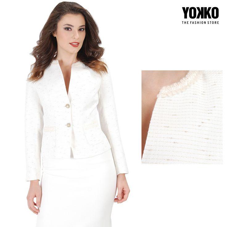 MAGIC SPELL, sacou elegant cu bumbac & fir auriu, piesa de rezistenta in acest sezon! YOKKO |fall16  #white #jacket #cotton #fall16 #fashion #style #yokko