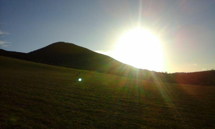 Sunny autumn day, climbing the Eildons