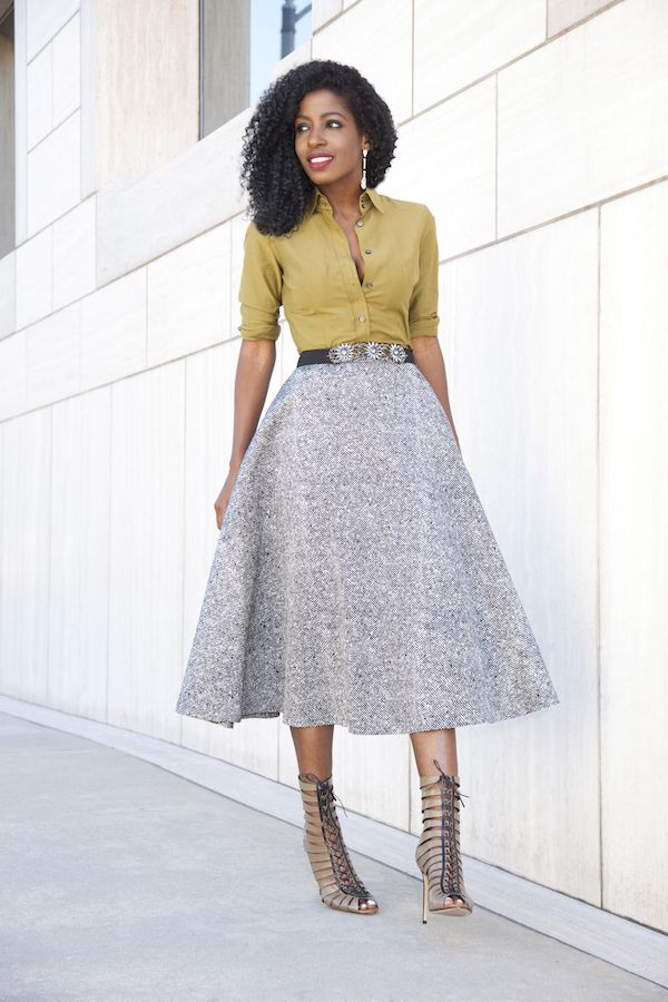 Fitted Utility Shirt + Swing Midi Skirt