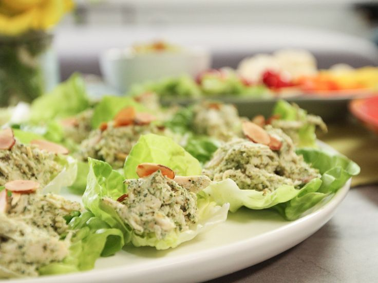 Lettuce Cups with Cilantro-Almond Chicken Salad recipe from Patricia Heaton Parties via Food Network