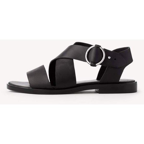 Brie Flat Sandal ($375) ❤ liked on Polyvore featuring shoes, sandals, black, leather flat shoes, flat footwear, genuine leather shoes, real leather shoes and black flat shoes