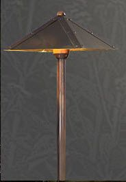 "R-G828   	   	Path Light    NAZ - Natural Antique Bronze (Shown)	  The G828 Path Light comes in two different materials Solid Brass and Solid Copper.	   	The G828 is truly a craftsman style fixture that has a beauty all its own to accent the landscape and architectural features of a home.	   	 71/2"" Square x 20"" H"