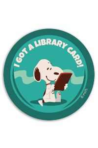 "It's National Library Card Sign-up Month. Sign-up or renew your card today and get a sticker featuring Snoopy ""I got a Library Card"""