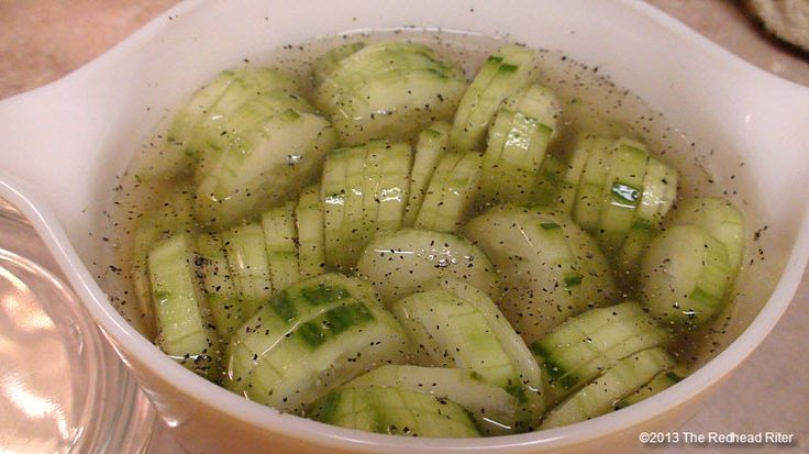 Cucumbers and Vinegar. Eat these all the time when I want something crunchy & healthy. I grow my own cukes.