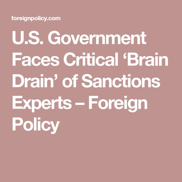 01/19/18 | U.S. Government Faces Critical 'Brain Drain' of Sanctions Experts – Foreign Policy