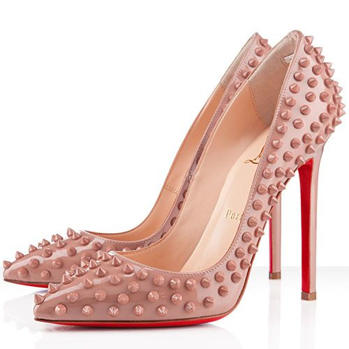 Christian Louboutin Pigalle Spikes 120mm Patent Leather Pointed Toe Pumps Nude  http://www.redsolesale.com/christian-louboutin-pigalle-spikes-120mm-patent-leather-pointed-toe-pumps-nude-p-42.html