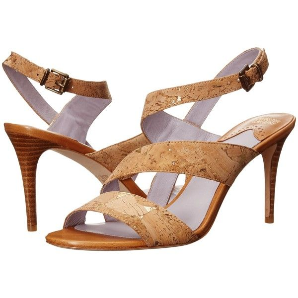 Johnston & Murphy Stacy (Natural Cork) High Heels (32.415 CLP) ❤ liked on Polyvore featuring shoes, sandals, neutral, high heel shoes, high heels sandals, asymmetrical sandals, johnston murphy shoes and high heeled footwear