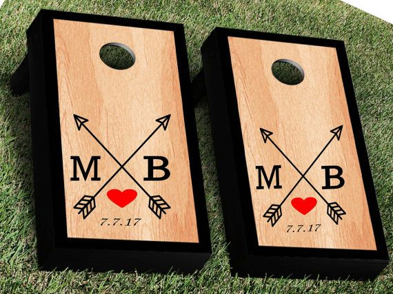 Wedding Cornhole Decal Set  Bride and Groom by KrazySignsUSA