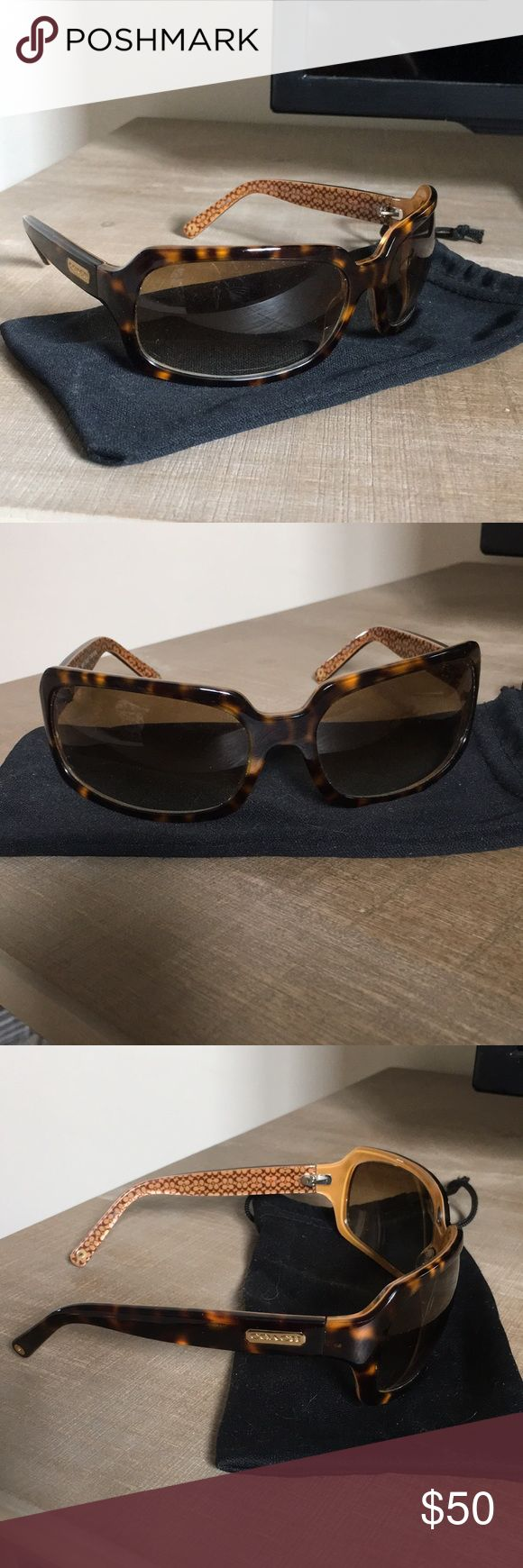Coach Sunglasses Coach women's sunglasses. Brown tortoise shell frames with see-through golden lenses. Coach Accessories Glasses