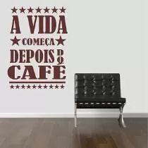 Adesivo De Parede Cozinha Geladeira Café Coffe Frase Estrela
