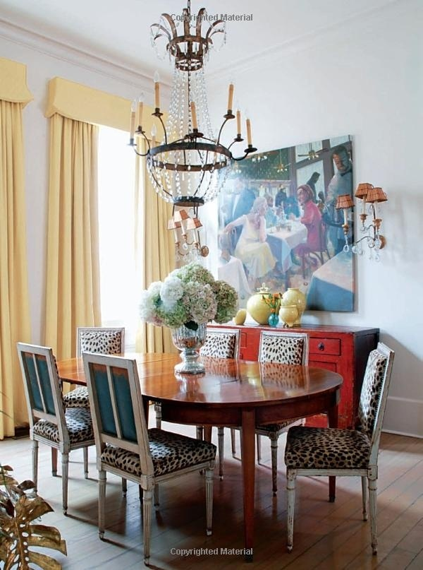 Eclectic Dining Room With Red Buffet, Yellow Drapes And Animal Print Chairs