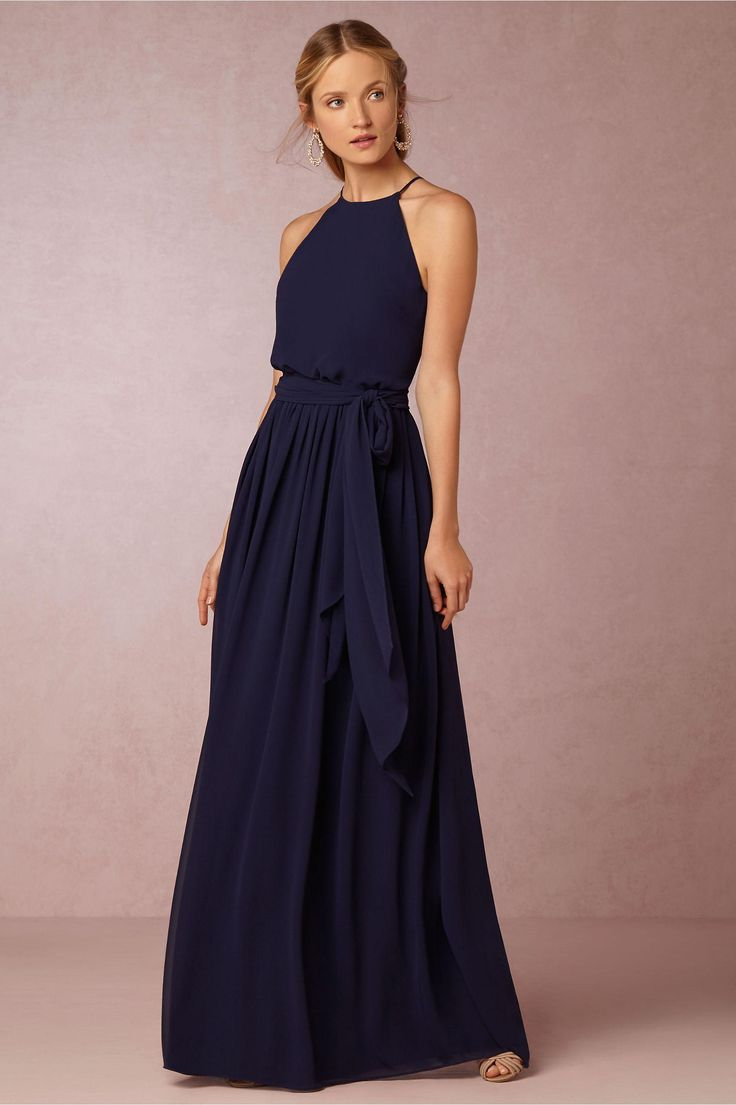 Elegant Navy Blue Bridesmaid Dresses BHLDN 2016 Chiffon Summer Beach Wedding Party Dresses Long Floor Length Cheap Bridesmaid Formal Dresses