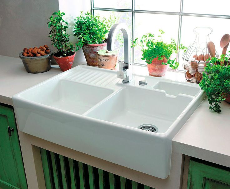 Kitchen Inspirations-Traditional French kitchen sink area with herbs, plants