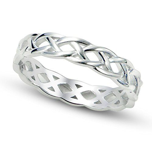 Sterling Silver 925 Celtic Knot Eternity Band Ring