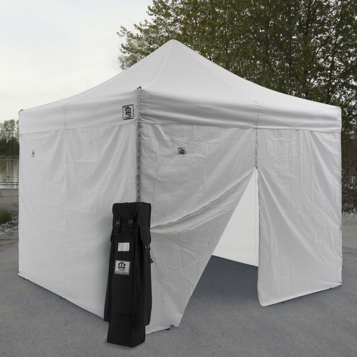 Impact Canopy AOL 10x10 ft. Ez Pop Up Canopy Tent Instant Canopy Aluminum with Wheeled Roller Bag and Sidewalls