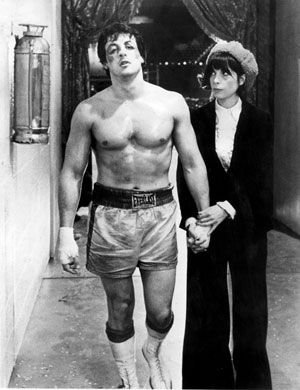 """Yo Adrian!"" / Best movie quotes of all time - Rocky (1976) starring Sylvester Stallone as Rocky Balboa and Talia Shire as Adrian Pennino."