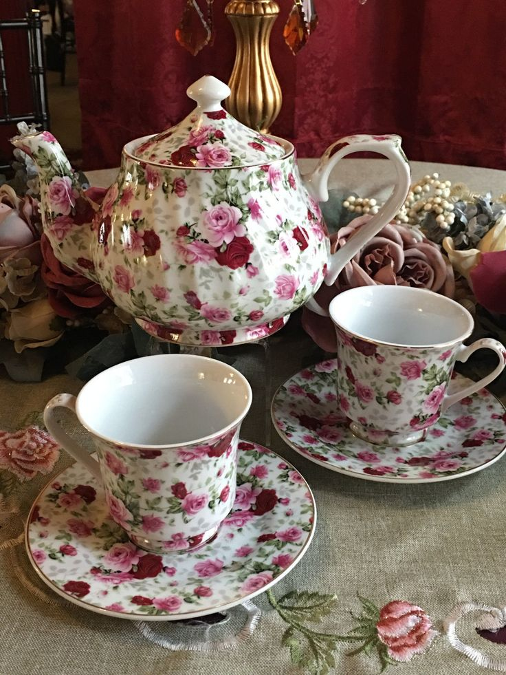 "RED Rose Chintz Tea Set: 6 Cup Porcelain Tea Pot and 2 Adult Cups and Saucer - $89.95. Tea set for two, porcelain tea set, with pretty Red Roses on it...The Roses are a chintz pattern, so it is all around all sides of the tea set. Trimmed in 24K Gold.....The set includes a 6 Cup Tea Pot and Two Cups and Saucers...Full adult size, fine porcelain, Made in China in an FDA certified factory...Teacups are 3"" tall and 3 1/2"" wide..saucer is 5 3/4"" across...cup easily holds..."