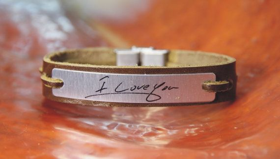 Free shipping – Personalised men's leather bracelet -hand writing - aluminum plate - personalized bracelet  Ask a Question $49.00 USD