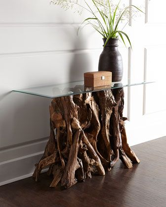 Quinten Teak Console Table at Neiman Marcus. Add black marble top on
