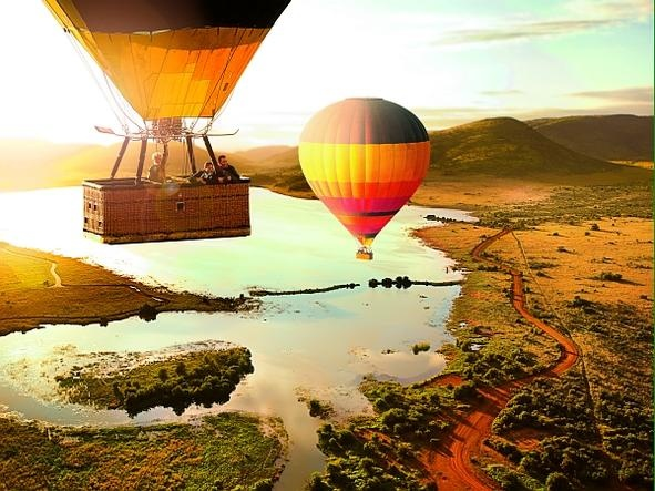 Hot air balloon trip over the Pilanesberg Game Reserve. Like if you want to float into the African sky!