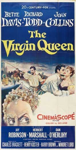Henry Koster's 'The Virgin Queen', 1955 - Bette Davis stars as Queen Elizabeth l, in this elaborately filmed, historical costume drama. It starts with Sir Walter Raleigh (Richard Todd) gaining an audience with QE & soon wins her over to his way of thinking. He wants ships to sail & make a name for himself & make even more of a name for England. England has had a long standing rivalry with Spain. The film follows his exploits & his turbulent relationship wit the Queen.