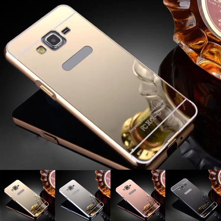 Pas cher G530 Pare chocs En Aluminium Cas + Miroir Acrylique Retour Dur Pour Samsung Galaxy Grand Prime…
