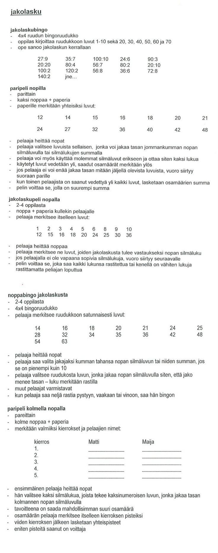 Jakolaskupelejä (4.lk).