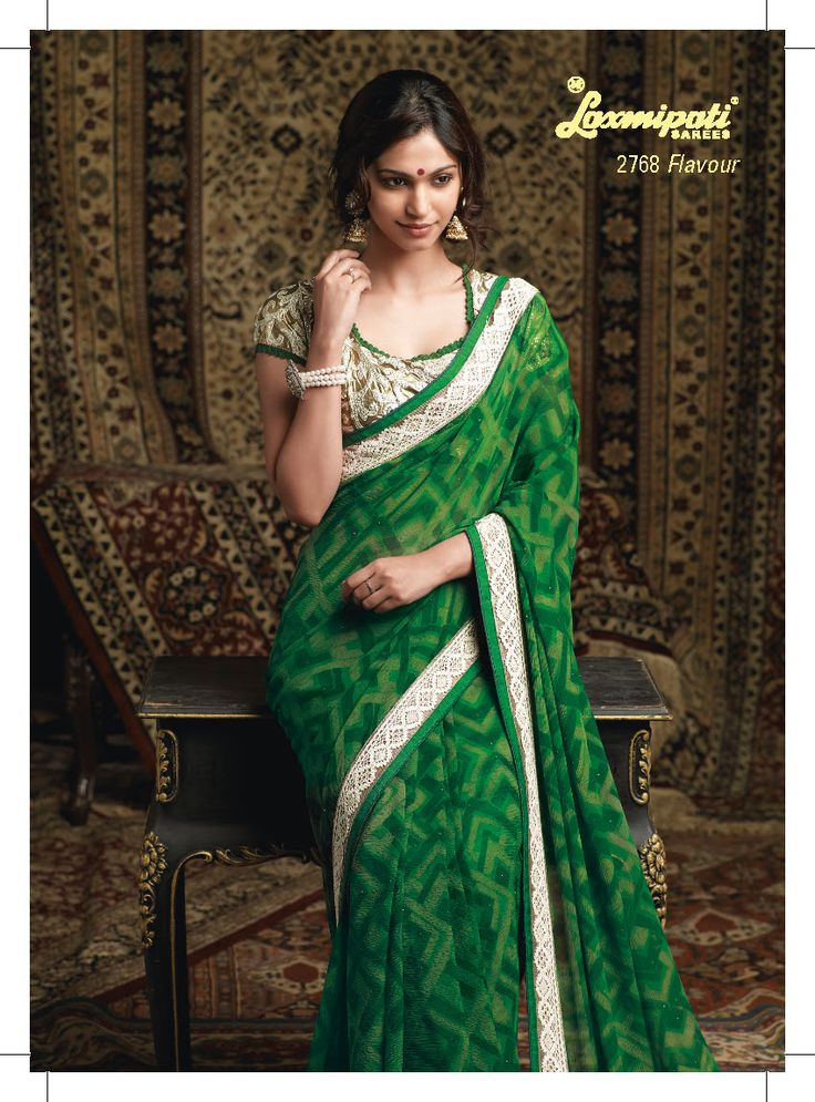 This green color chiffon saree with embroidered blouse piece & white less in border