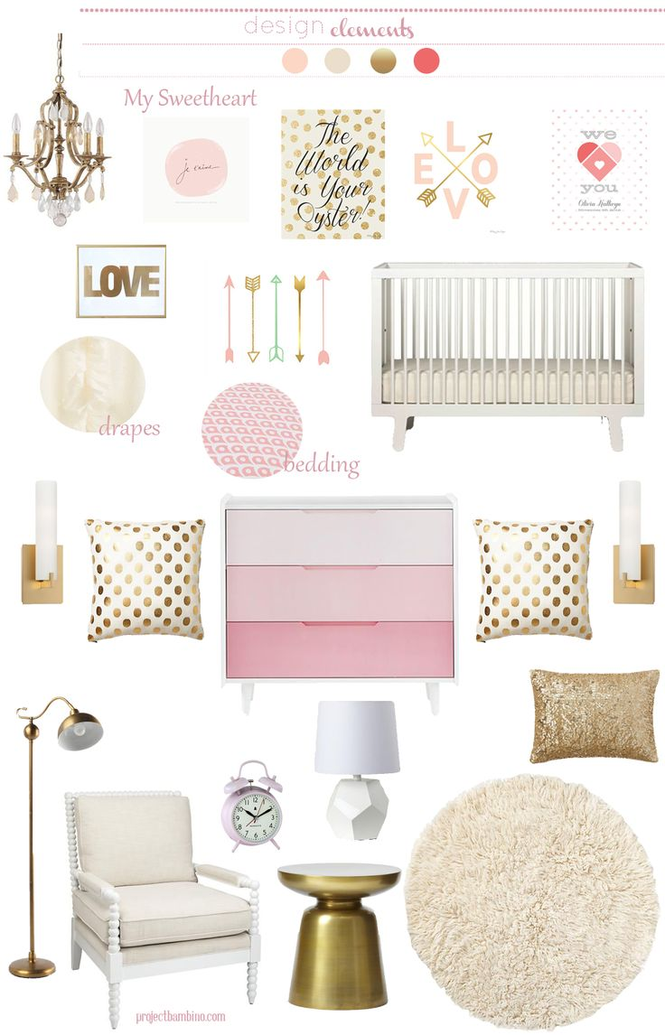 Plenty of pink & gold nursery inspiration - add Caden Lane's pink & gold ruffle baby bedding and the room's complete!