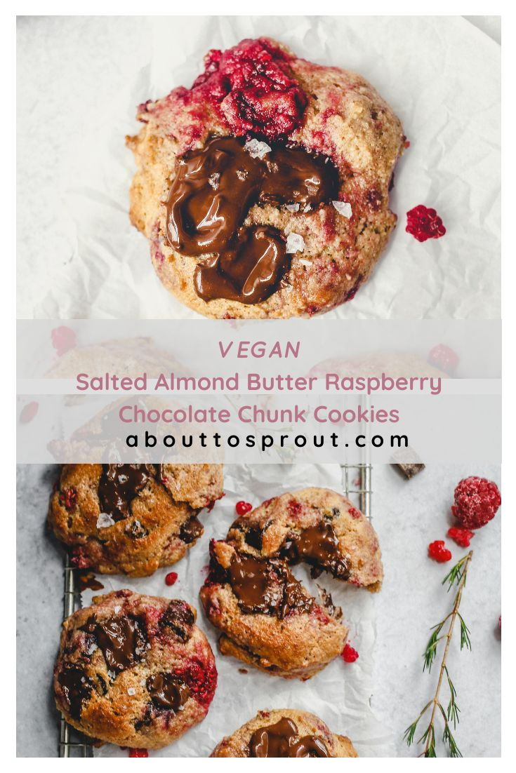 Salted almond butter raspberry chocolate chunk cookies are soft and pillowy, filled to the brim with bursting berries an…