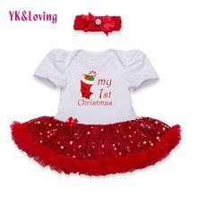 Lantejoulas Manga Curta Romper Do Bebê Tutu Vestido de Algodão Infantil Macacão Vermelho Plissado Vestidos de Meninas para o Dia de Natal 2016 Mais Novo(China (Mainland))