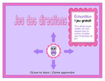 Ce jeu des directions comprend 1 planche de jeu, une bande de directions  suivre (en haut, en bas,  la droite,  la gauche) et une carte rponse.Ides pour l'utilisation:-centres mathmatiques-activit pour ceux qui terminent avant les autres en classe -revue des concepts.